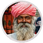 Laughing Indian Man In Turban Round Beach Towel