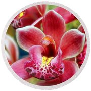 Laughing Orchids Round Beach Towel