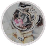 Laughing Pug Round Beach Towel