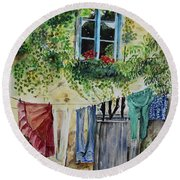 Laundry Day In France Round Beach Towel by Jan Dappen