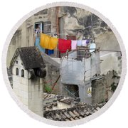 Laundry Day In Matera.italy Round Beach Towel