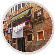 Round Beach Towel featuring the photograph Laundry Drying In Venice by Anne Kotan