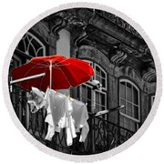 Laundry With Red Umbrella In Porto - Portugal Round Beach Towel