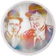 Laurel And Hardy Round Beach Towel by Dan Sproul