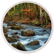Laurel Fork In The Fall Round Beach Towel