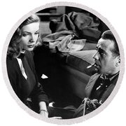 Lauren Bacall Humphrey Bogart Film Noir Classic The Big Sleep 1 1945-2015 Round Beach Towel