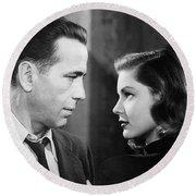 Lauren Bacall Humphrey Bogart Film Noir Classic The Big Sleep 2 1945-2015 Round Beach Towel