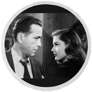 Lauren Bacall Humphrey Bogart Film Noir Classic The Big Sleep 2 1945-2015 Round Beach Towel