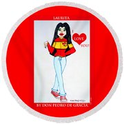 Round Beach Towel featuring the painting Laurita by Don Pedro De Gracia