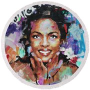 Round Beach Towel featuring the painting Lauryn Hill by Richard Day