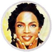 Lauryn Hill Round Beach Towel by Wayne Pascall
