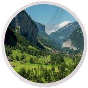 Lauterbrunnen Mountain Valley - Swiss Alps - Switzerland Round Beach Towel by Gary Whitton
