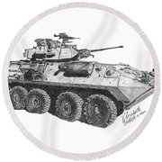 Round Beach Towel featuring the painting Lav-25 by Betsy Hackett