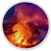 Lava And Ocean At Dawn Round Beach Towel by Allen Biedrzycki