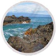 Lava Coastline - West Maui Round Beach Towel