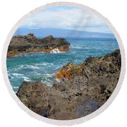 Lava Coastline - West Maui Round Beach Towel by Glenn McCarthy Art and Photography