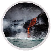 Lava Dripping Into The Ocean Round Beach Towel
