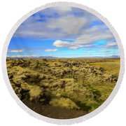 Lava Fields Of Iceland Round Beach Towel by Allan Levin