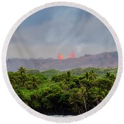 Lava Fountain Round Beach Towel