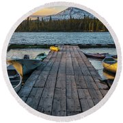 Lava Lake Evening  Round Beach Towel