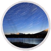 Round Beach Towel featuring the photograph Lava Lake Star Trails by Cat Connor