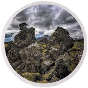 Lava Rock And Clouds Round Beach Towel
