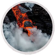 Lava Train Round Beach Towel