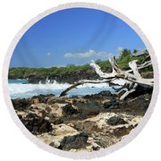 Lava, Wood And Water Round Beach Towel by Mary Haber