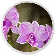 Round Beach Towel featuring the photograph Lavendar Orchids by Lana Trussell