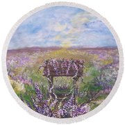 Round Beach Towel featuring the painting Lavendar Wishes by Leslie Allen