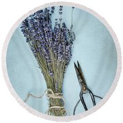 Lavender And Antique Scissors Round Beach Towel by Stephanie Frey