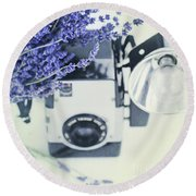 Lavender And Kodak Brownie Camera Round Beach Towel by Stephanie Frey