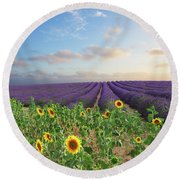 Lavender And Sunflower Flowers Field Round Beach Towel