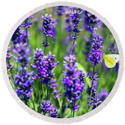 Lavender And The Heart Round Beach Towel