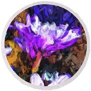 Lavender And White Flower With Reflection Round Beach Towel