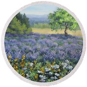 Lavender And Wildflowers Round Beach Towel