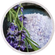 Lavender Bath Salts Round Beach Towel
