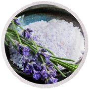 Lavender Bath Salts In Dish Round Beach Towel