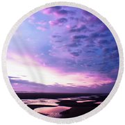 Lavender Beach Sunset Round Beach Towel