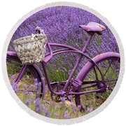 Lavender Bike Round Beach Towel