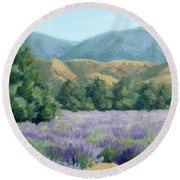 Lavender, Blue And Gold Round Beach Towel by Sandy Fisher