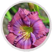 Round Beach Towel featuring the digital art Lavender Blue Baby Daylily by Eva Kaufman