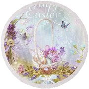 Round Beach Towel featuring the mixed media Lavender Easter by Mo T