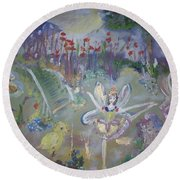 Round Beach Towel featuring the painting Lavender Fairies by Judith Desrosiers
