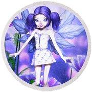 Lavender Fairy Round Beach Towel