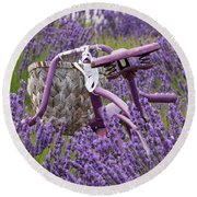 Lavender Farm Bike Round Beach Towel