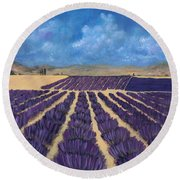 Round Beach Towel featuring the painting Lavender Field by Anastasiya Malakhova