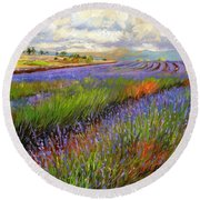Lavender Field Round Beach Towel by David Stribbling