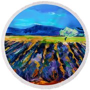 Round Beach Towel featuring the painting Lavender Field by Elise Palmigiani