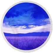 Lavender Field Round Beach Towel
